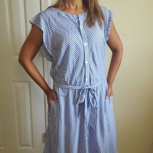 LOFT Button Down Blue Stripped Dress Size M